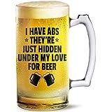 Beer Mug Just Hidden Under My Love For Beer Printed Beer Mug 500 Ml Best Gift For Husband,Friend,Birthday,Anniversary