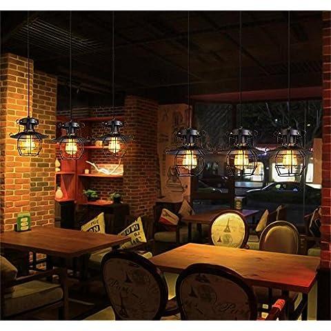 Retro estilo loft industrial bar restaurante americano Café iluminación creativa explosión araña de hierro ( Estilo : Straight Plate