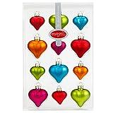 12 Mille Fiori Herzen bunt aus Glas von Inge Glas® - 4cm/5cm - Weihnachtsbaum Baumschmuck Ornamente