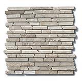 1 qm ST-1-433 Marmor Naturstein Stab Mosaikfliesen Weiß Beige Design Bad Fliesen Lager Verkauf Stein-Mosaik Herne NRW