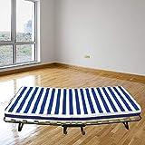 Baldiflex Dali - Cama plegable con colchón de poliuretano expandido Waterfoam ortopédico (10cm de altura, somier de láminas, 80x 190cm)