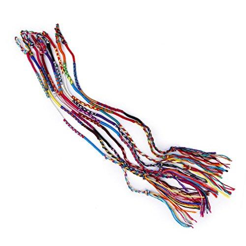 TOOGOO(R) 9 coloridas pulseras de la amistad trenzado hilo Hippie