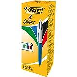 BIC 4 Couleurs Mini Stylos-Bille Rétractables Pointe Moyenne (1,0 mm) - Boîte de 12
