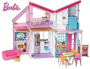 Barbie - Casa Malibu de muñecas de dos pisos plegable con muebles y accesorios (Mattel FXG57)