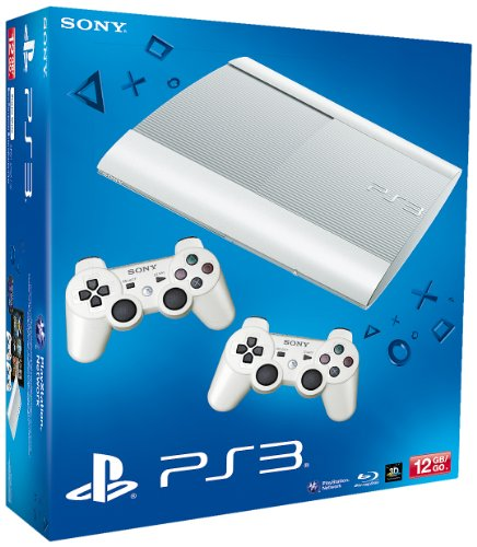 PS3 - Konsole Slim 12GB Azurite White  (SuperSlim) inkl. 2 Dualshock-Controller White