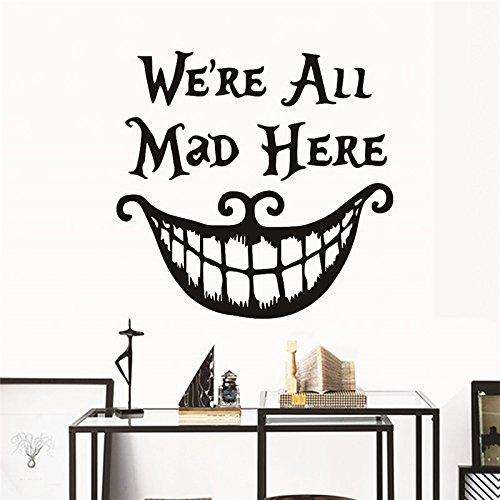 EWQHD Halloween-Dekor-Wand-Aufkleber-Abziehbilder Wir Alle Hier Wütend Vinyl-Zitate Lustige Lächeln Gesicht Big Mouth-Dekor-Plakat-Festival-Dekoration