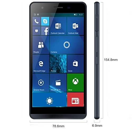 Funker W5.5 NOTE PRO - Smartphone 4G, 16GB, 2GB RAM, QuadCore, Windows 10 Mobile, Blau Metallic