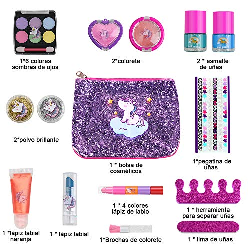 Anpro 15pcs Kit de Maquillaje Niñas, Juguetes para Chicas,  Cosméticos Lavables,  Regalo de Princesa para Niñas en Fiesta, Cumpleaños, Navidad