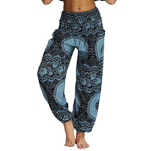 Nuofengkudu Mujer Hippies Pantalones Harem Tailandeses Boho Estampados Bolsillos Cintura Alta Baggy Yoga Pants Verano Playa Fiesta (Azul B,Talla única)