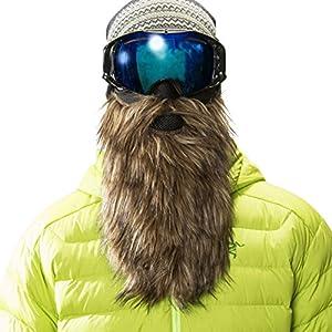 Beardski Goldsucher Skimaske mit Bart Braun