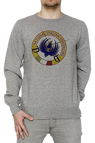 National Italian Of Fending Uomo Grigio Felpa Felpe Maglione Pullover Grey Men's Sweatshirt Pullover Jumper