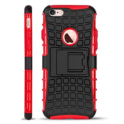 Conie iPhone 6S / 6 Outdoor Hülle - Case in Rot Extra Schutz, Robuste iPhone 6S / 6 Schutzhülle Handyhülle Cover Silikonhülle Rückschale Rot
