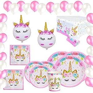 Vajilla Papel Cumpleaños Unicornio Rosa