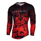 Herren T-Shirts FORH Männer Mode Persönlichkeit Sport Kurzarm Bluse Vintage Camouflage Rundhals Sommer T-Shirt Casual Oversize Kurzarmhemd Weich Lose Tank Top Oberteil (Rot C, S)