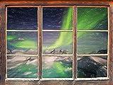 Stil.Zeit énorme Effet de Crayon d'art auroral Fenêtre en 3D Look, Mur ou Format Vignette de la Porte: 62x42cm, Stickers muraux, Sticker Mural, décoration Murale