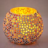 Mosaic Crackle Glass Candle Holder Votive T Light Holder Home Décor Lighting Gift With Tlight (VOT- 88) By Brahmz