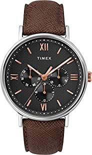 Timex Mens Quartz Watch, Analog Display And Leather Strap - TW2T35000