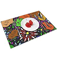 QCFW Placemats Place Mats Sets of 4 Table Mats PVC Washable Mat Heat Resistant Mat for Kitchen Garden BBQ Outdoor 1960S Sixties Style Mod Psychedelic
