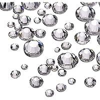 Flatback Rhinestones, 4320 piezas Diferentes Tamaños Transparente Redonda Espalda Plana Gemas Micro Diamond Crystal 2 mm, 3 mm, 5 mm para DIY Uña, Arte, Decoraciones