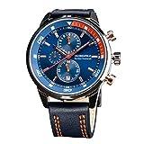 Die besten Marken Haartrockner - Globenfeld Chronograph Sportuhr für Männer - Blaues dreifach Bewertungen