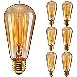 Edison Glühbirne, Elfeland 6x E27 Antike Vintage Dekorative Glühbirne 40W ST58 Edison Bulb (40W, 220V, Handgewickelt, Dimmbar) Ideal für Nostalgie und Retro Beleuchtung 6 Pack
