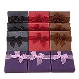 BENECREAT Paquet de 12 boites en Carton de Cadeau de Bracelet de Carton avec des arcs dans 4 Couleurs pour Le Bracelet et Le Bracelet - 8.9x8.9x2.5cm