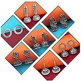 JewelMaze Women's Oxidized Silver Earrings Combo Set of 7 (Grey, 1004320)