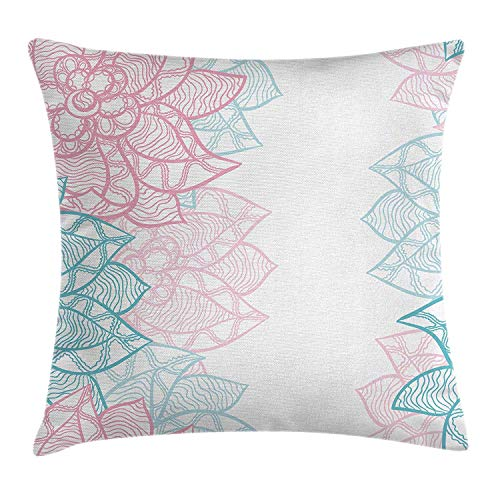 tgyew Floral Throw Pillow Cushion Cover, Large Flower Petal in Pastel Tone Elegance Spring Beauty Embellished Design, Decorative Square Accent Pillow Case, 18 X 18 Inches, Sky Blue Light Pink -