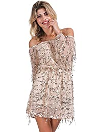 Simplee Apparel Women s Off Shoulder Sequins Tassel Mesh Lace Short Mini  Dress Long Sleeve Gold a2d3a792dc09