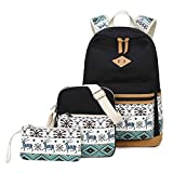 Fresion School Backpack shoulder bag pencil case 3 in 1 Set Casual Canvas Schoolbag for Teenage Girls and Students (Black)