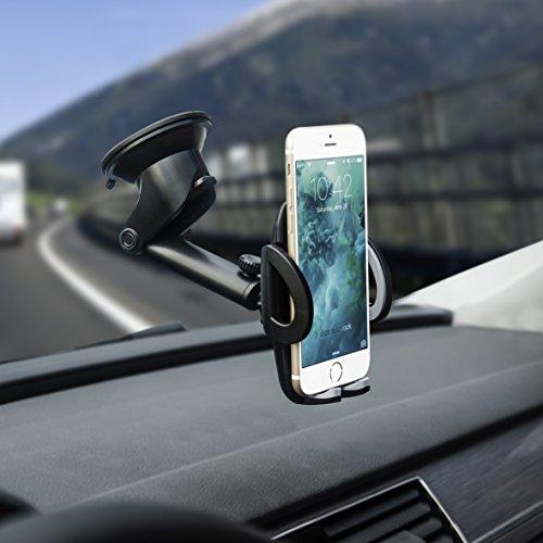 Supporto Auto Smartphone Porta Cellulare Universale con Rilascio Automatico e Ventosa Fort per Cruscotto Parabrezza e per iPhone X/8/8/7/6s/6 Samsung Galaxy/Note S8 S7 S6 Huawei e Android Smartphone