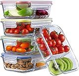 Frischhaltedose Set (5er Pack-870ml, 2-Fach) | Meal Prep Vorratsdosen Glas Luftdicht | Glasbehälter Mit Deckel Set | Perfekte Frischhaltedosen Vorratsbehälter | Für Ofen, Mikrowelle, Gefrierschrank