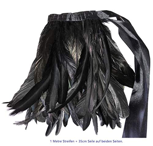 (ERGEOB Hahn Feder Stoffstreifen 2 Meter - Ideen für die Bekleidung, Kostüme, Hüte. 13 Farbe (15 Schwarzstyle2))