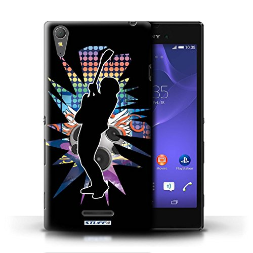 Kobalt® Imprimé Etui / Coque pour Sony Xperia T3 / Rock Dame Blanc conception / Série Rock Star Pose Hendrix Noir