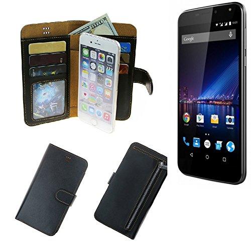 K-S-Trade® Für Phicomm Energy 3+ Schutz Hülle Portemonnaie Case Phone Cover Slim Klapphülle Handytasche Schutzhülle Handyhülle Schwarz Aus Kunstleder (1 STK)
