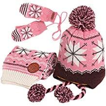 Vimeet Baby Kinder Winter Warm Gestrickter Mütze Schal Sets Beanie Strickmütze Wintermützen Earflap Hüte Kappe Schnee Hut Schneeflocke