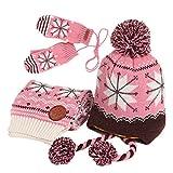 Vimeet Baby Kinder Winter Warm Gestrickter Mütze Schal Handschuh Sets Beanie Strickmütze Wintermützen Earflap Hut Kappe Schnee Hut Schneeflocke