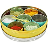 ELAN Spice Box, 7 compartments, Stainless Steel, Yellow