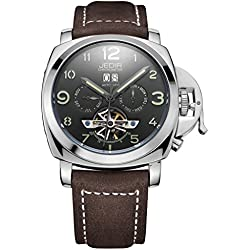 YPS Automatic SelfWind Men Alloy CaseMaterial Matte Leather Band Calendar Display Luminous Hands Wrist Watch WTH5296