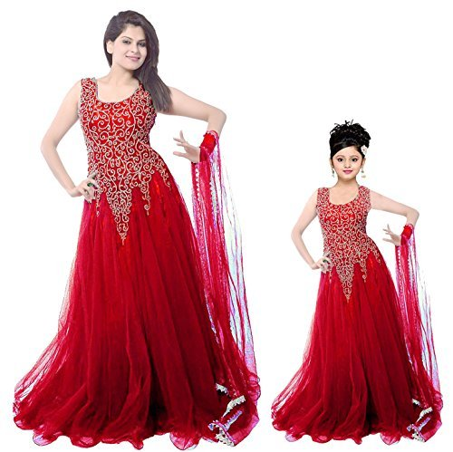 Clickedia women\'s Net Floor length Party Red Gown Combo for ( Women\'s and girl\'s)- Mother and Daughter Gown for Party and Festive????