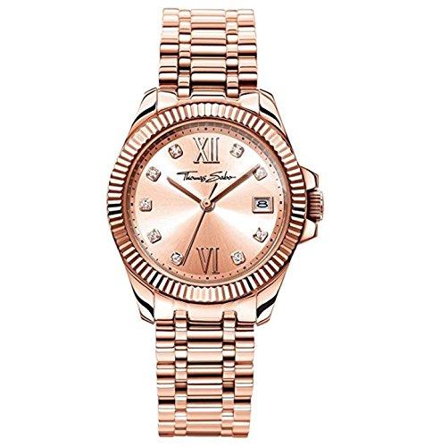 Thomas Sabo Damen Analog Quarz Uhr mit Edelstahl Armband WA0220-265-208-33mm