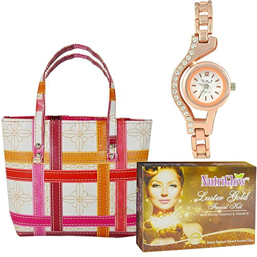 Pack Of 3 Facial Kit , Hand Bag And Women Wrist Watch By Adbeni