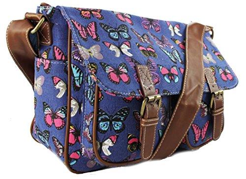 Miss Lulu tela gufo, farfalla, elefante, cavallo, cupcake pattern design Satchel saddle messenger a tracolla in tela cerata e Butterfly Navy (Canvas)