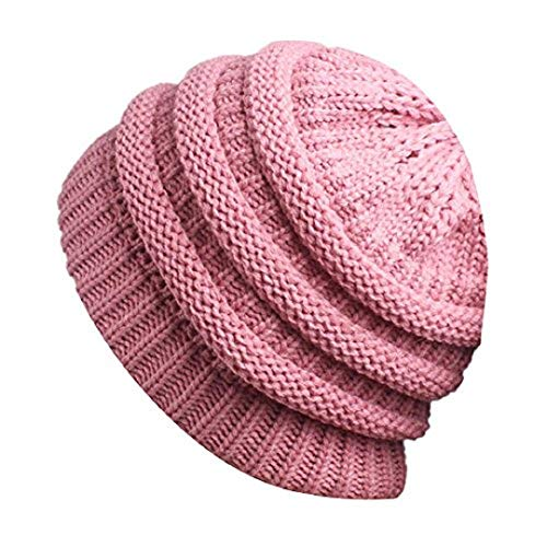UJUNAOR Süßes Mädchen Strickwolle Hut mit Löchern Frauen Damen Stricken Mütze Turban Kopf Wickeln Pile Cap(Rosa)