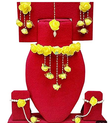 Women's Yellow Flower Jewellary Set for Haldi/Mehandi