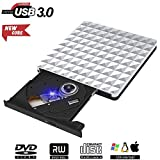 Externa Grabador DVD, Lector Unidad DVD Portátil USB 3.0 CD RW Row Rewriter Burner para Macbook OS...