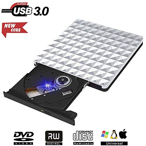 Externe CD DVD Laufwerk, USB 3.0 DVD RW Row Brenner Player Optisch für MacBook OS Windows PC