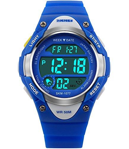 Jungen Mädchen Kinder Digital Sportuhr - Multifunktion 50M Wasserdicht LED Beleuchtung Elektronisch Stoppuhr für Junior Kinder Jungen Wecker Stoppuhr Timer Armbanduhr ( Blau )
