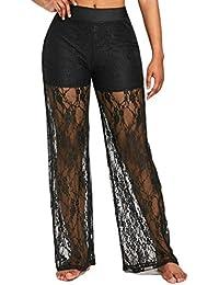 Damen Hosen Sommer LHWY Mode Frauen Party Kleidung Casual Shorts Lose  Spitze Hohe Taille Breite Beinhosen Elegant Lange Hosen Größe… 7e9e3bca79
