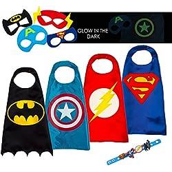 LAEGENDARY Disfraces de Superhéroes Para Niños - Regalos de Cumpleaños Para Niños - 4 Capas y Máscaras - Logo Brillante de Capitán América - Juguetes Para Niños y Niñas